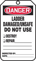 Accuform MDT234PTP RP-Plastic Safety Tag, Legend''Danger Ladder Damaged/Unsafe Do Not Use'', 5.75'' Length x 3.25'' Width x 0.015'' Thickness, Red/Black on White (Pack of 25)
