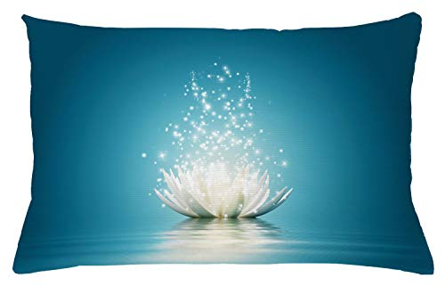 Lotus Cushion Cover - Lunarable Lotus Throw Pillow Cushion Cover, Magic Flower Pattern with Water Design Print, Decorative Accent Pillow Case, 26 W X 16 L Inches, Petrol Blue Coconut