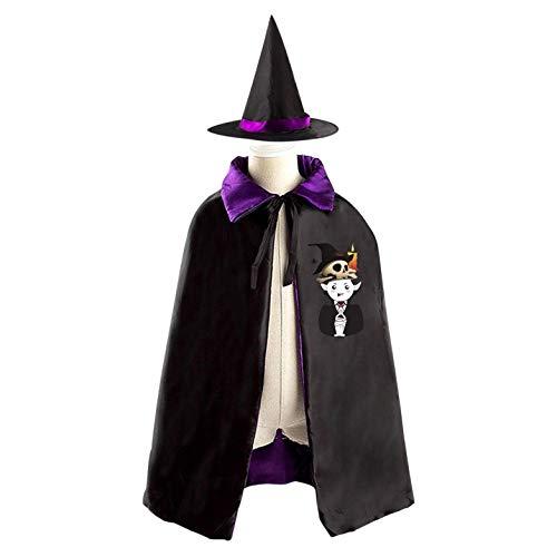 69PF-1 Halloween Cape Matching Witch Hat Skull Circlet - Diadem Wizard Cloak Masquerade Cosplay Custume Robe Kids/Boy/Girl Gift Purple -