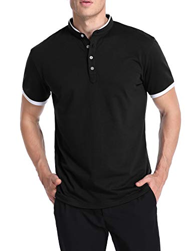 - TIESOME Men's Casual Polo Shirt Short Sleeve Slim Fit Contrast Color Golf Shirts (24 Jersey Black, M)