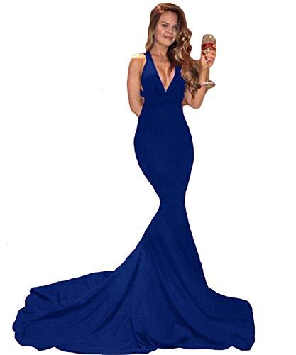 Sweet Bridal Women's Mermaid Evening Party V-Neckline Backless Prom Dress Long Blue US2
