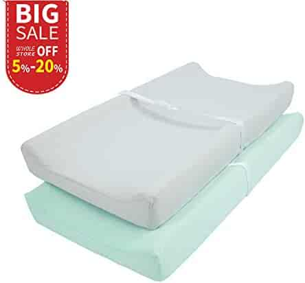 TILLYOU Jersey Knit Ultra Soft Changing Pad Cover Set-Cradle Sheet Unisex Change Table Sheets for Baby Girls and Boys-32