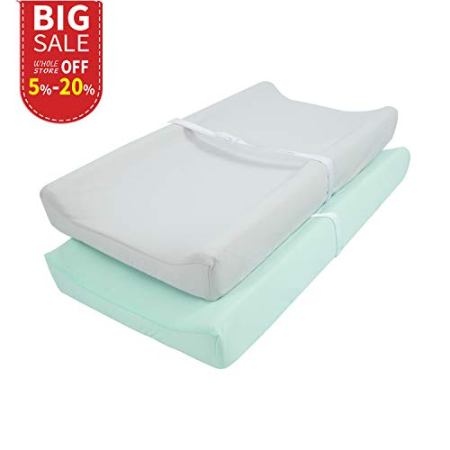 TILLYOU Jersey Knit Ultra Soft Changing Pad Cover Set-Cradle Sheet Unisex Change Table Sheets for Baby Girls and Boys-32 x 16-Comfortable Cozy Hypoallergenic-2 Pack Lt Green & Lt Gray