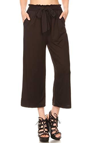 ShoSho Womens Paper Bag Waist Cropped Pants Casual Wide Leg with Pockets Soft Brush Solid Black Large
