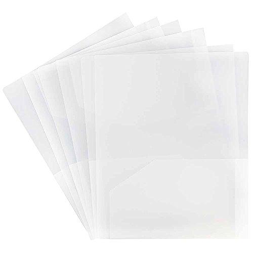 Clear Plastic Folders (JAM PAPER Heavy Duty Plastic 2 Pocket School Folders - Clear -)