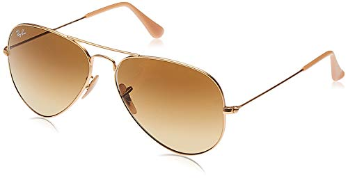 RAY-BAN RB3025 Aviator Large Metal Sunglasses, Matte Gold/Brown Gradient, 58 mm (Ray And Black Pink Bans)