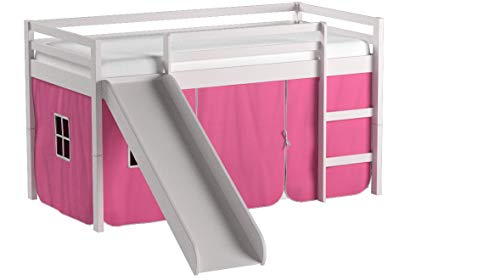 Donco Kids Twin Tent Loft with Slide and Slat-Kits in White with Pink Tent