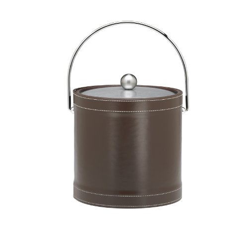 Kraftware Ice Bucket with Chrome Lid and Bale Handle, Chocolate - 3 (Leather Ice Bucket)