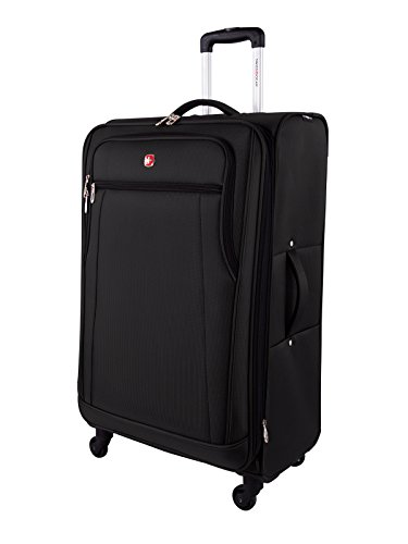SwissGear Cross Country Large Checked Luggage – Expandable Upright Spinner 28-Inch., Black
