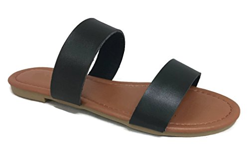 Leather 2 Strap Sandals (The Collection Annie Womens Double 2 Strap Sandal Low Flat Heel Slip On Slide, Black, 9)