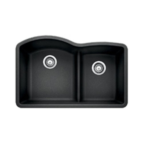 Diamond Silgranit Anthracite Double Bowl (Blanco 441590 Diamond 1.75 Low Divide Under Mount Double Bowl Kitchen Sink, Large,)