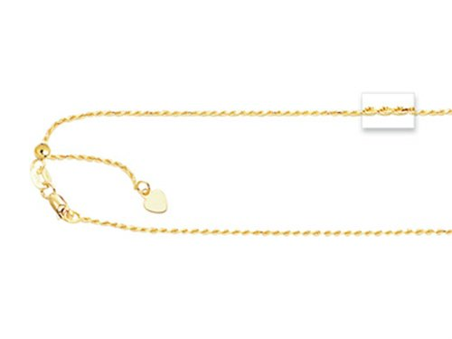 Finejewelers 14K Yellow Gold 22 Inch Bright-cut Adjustable Rope Chain Necklace Lobster Clasp Small Heart - Chain Adjustable Rope