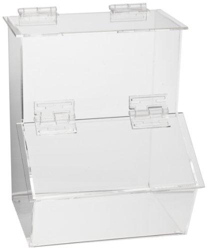 Heathrow Scientific HD23401 Crystal-Clear Workstation Dispensing 1-Place Compartment Bin, 184mm Length x 194mm Width x 232mm Depth