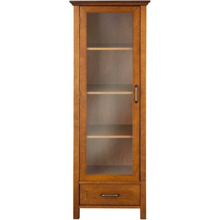 Elegant Home Fashions Calais Linen Cabinet, Oil Oak Dining Room Square Cabinet