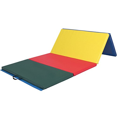 4'x8'x2'' Multicolored Folding Gymnastic Mat Gym Tumbling Pilates Yoga Stretching Pad Aerobic Stretching Thick Exercise Fitness Floor Mat Foldable Panel PU Leather Puncture Resistant by HPW