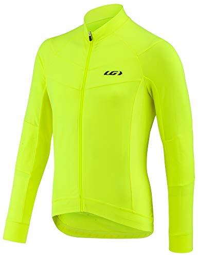 Louis Garneau Men's Lemmon Long Sleeve, Lightweight, Full Zip Cycling Jersey, Bright Yellow, Large