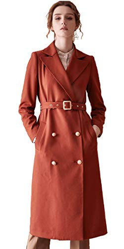 ROEYSHOUSE Women's Trench Coat Double Breasted Jacket with Belt Terracotta