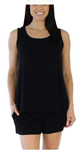 bSoft Women's Sleepwear Bamboo Jersey Tank and Shorts Pajama Pj Set, Solid Black (BSBJ1915-1011-LRG)