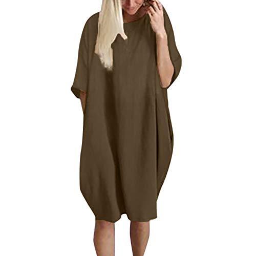 Euone Summer Dress Clearances, Women Casual Loose Cotton Linen Patchwork Half Sleeve Soild Pocket Mini Dress
