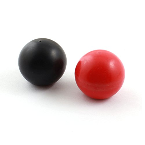 2Pcs M6x25mm Thread Round Plastic 25mm Dia Ball Lever Knob Black Red