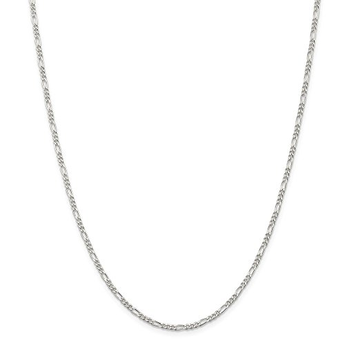 Sterling Silver 2.25mm Figaro Chain Ankle Bracelet – 10 Inch – Lobster Claw – JewelryWeb