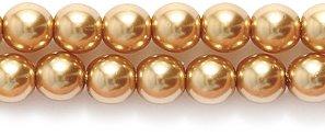 Imitation Pearl Brown (Preciosa Ornela Imitation Round Glass Pearl, 4-mm, Light Gold, 200-Pack)