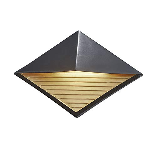 Cheap  Justice Design Group Lighting CER-5600W-CBGD Diamond Wall Sconce, Carbon Matte Black with..