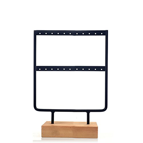 JOLY Black Metal Jewelry Earring Holder/Organizer / Stand/Display with Wooden Base (S, Black)