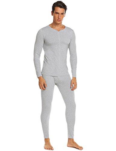 Ekouaer Fashion Men's Soft Cotton Thermal Underwear Long Pajamas Sets