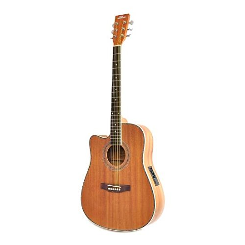 "Left-Handed Acoustic Electric Dreadnought Guitar – 41"" 6 String Mahogany Wood-Grain Cutaway Style w/Built-in Preamplifier, Case Bag, Nylon Strap, Tuner, Picks, Great for Beginner – Pyle PGA53LBR"