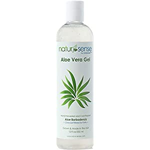 NaturSense Organic Aloe Vera Gel Great for Face, Hair, Sunburn Relief, Acne, Razor Bumps, Psoriasis, Eczema, Dry Skin…