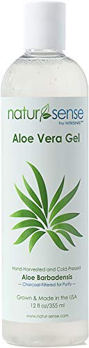 Organic Aloe Vera Gel Great for Face, Hair, Sunburn Relief, Parched Summer Skin, Acne, Razor Bumps, Psoriasis, Eczema, Overall Skin Hydration - 12 oz.