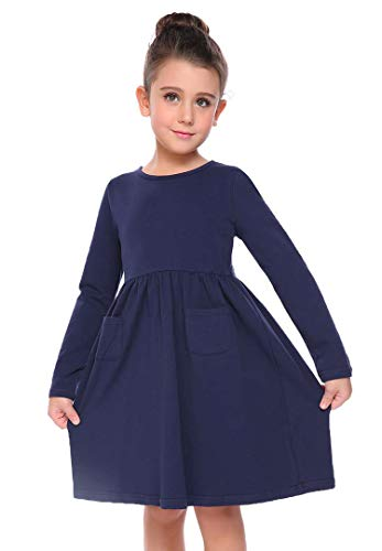 s Long Sleeve Solid Color Casual Skater Dress,Navy Blue,130(Age for 8-9Y) ()
