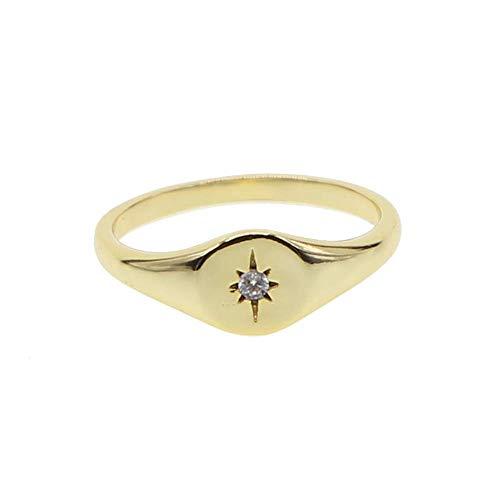 ATJMLADYJEWELRY Simple Jewelry Gold Plated Women Finger Jewelry Star Starburst Signet Ring (7)