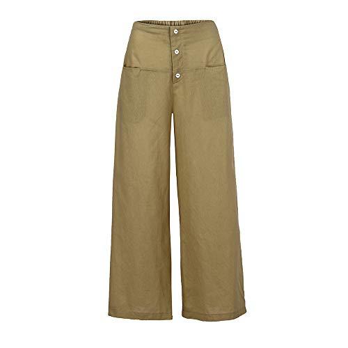 (wodceeke Casual Pants, Women Palazzo High Waist Wide Leg Culottes Cotton Linen Trousers Loose Pants (M, Beige))