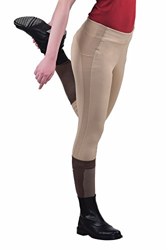 TuffRider Women's Ventilated Schooling Tights, Safari/Safari, Medium -