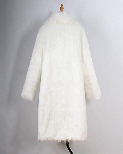 Vintage Di Invernali Bavero Party Caldo Giacca Lunga Bianca Pelliccia Transizione Giubotto Lanuginoso Qualità Manica Donna Cappotto Alta 0twzz