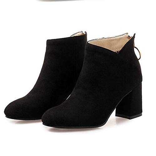 Black 5.5 US Black 5.5 US Women's Fashion Boots Suede Fall Boots Chunky Heel Closed Toe Booties Ankle Boots Black Almond   Burgundy