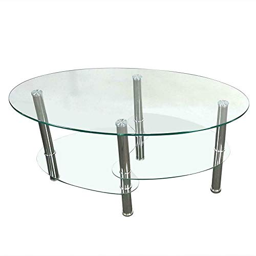 Angel611 Modern Three-Layer Dual Fishtail Style Tempered Glass CoffeeTable Transparent