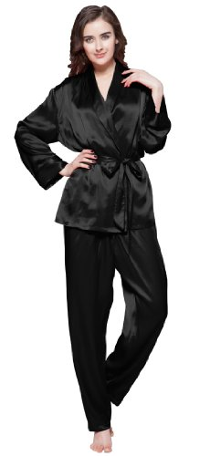 Lilysilk Conjunto de Pijama de Seda Contraste Recorte Negro