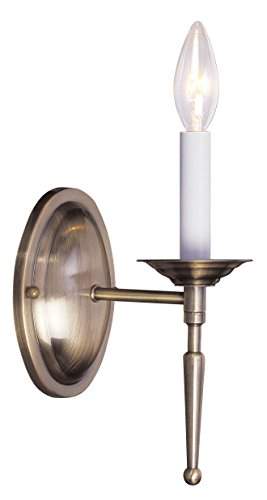 Livex Lighting 5121-01 Williamsburg 1-Light Wall Sconce, Antique Brass Antique Brass Williamsburg 1 Light