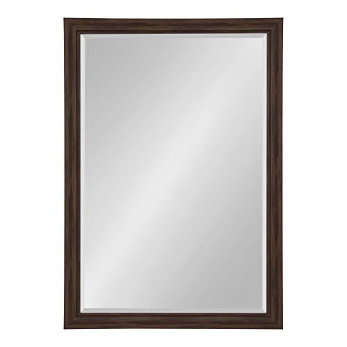 - Kate and Laurel Dalat Framed Beveled Wall Mirror, 28x40, Walnut Brown