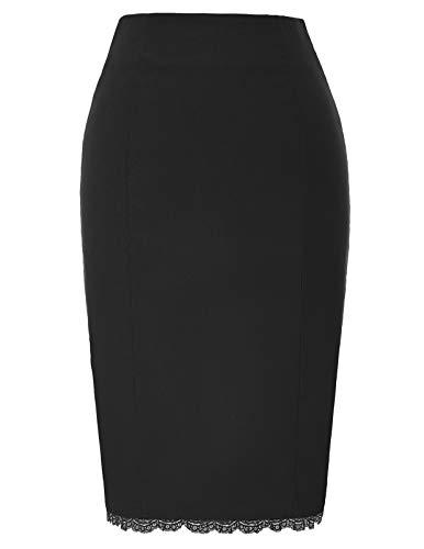 Belle Poque Plus Size Women's Black Lace Pencil Skirt XXL, Black(Lace)