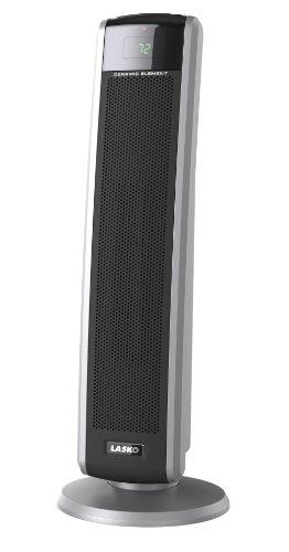 Lasko 5586 Digital Ceramic Tower Heater with Remote, Dark Grey