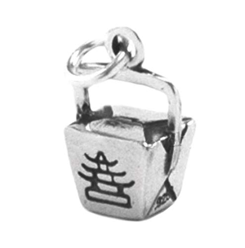 Chinese Charm TAKE OUT charm Pendant Food Dinner BOX Asian STERLING SILVER 925 Jewelry Making Supply Pendant Bracelet DIY Crafting by Wholesale Charms from Wholesale Charms