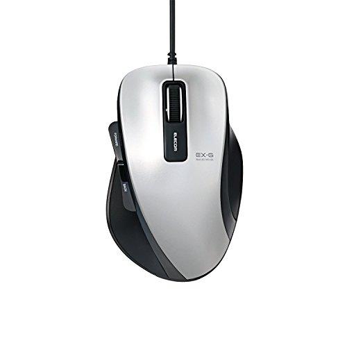ELECOM マウス 有線 BlueLED 5ボタン Mサイズ シルバー M-XG1UBSV