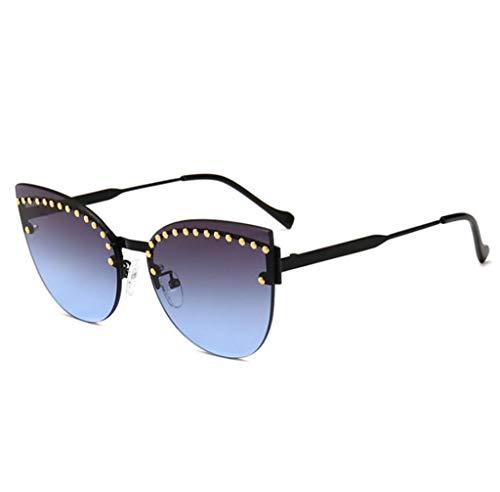 XINGUANG Street de Metal Gafas de Gato Remaches Sol Decorativos Gafas Moda Doble Incrustaciones Trend Sol con de de de Ojo ZqZUr