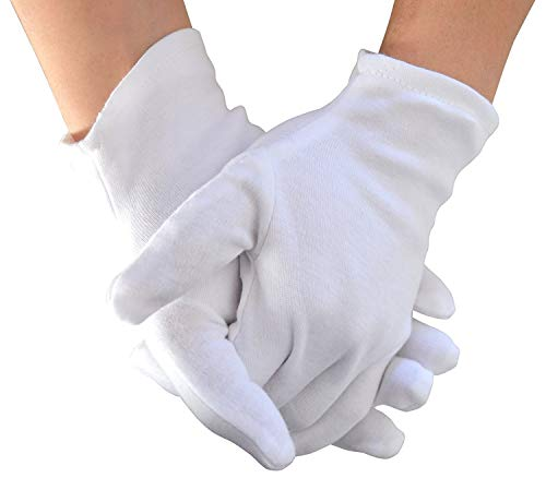 Yanaier 10 Pairs White Cotton Gloves Stretchable Lining Glove for Eczema Dry Skin Cosmetic Moisturizing Coin Jewelry Inspection Hand Spa Party Wearing -