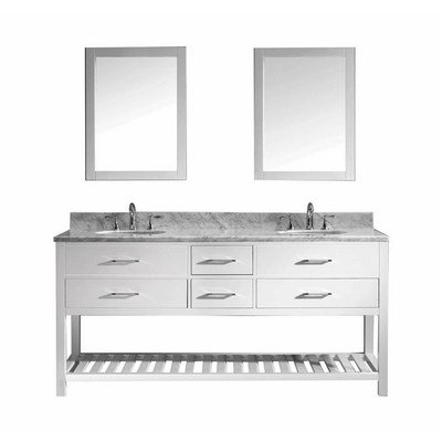 Virtu USA MD-2272-WMRO-WH Transitional 72-Inch Double Sink Bathroom Vanity Set, White