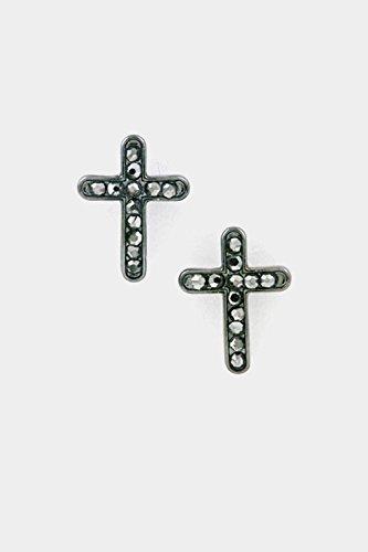 Hematite Rhinestone Cross - Karmas Canvas Cross with Rhinestone Post Earring (Hematite)